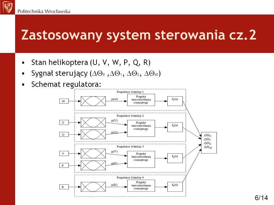 Zastosowany system sterowania cz.2 Stan helikoptera (U, V, W, P, Q, R) Sygnał sterujący ( 0, 1, 2, s0 ) Schemat regulatora: 6/14