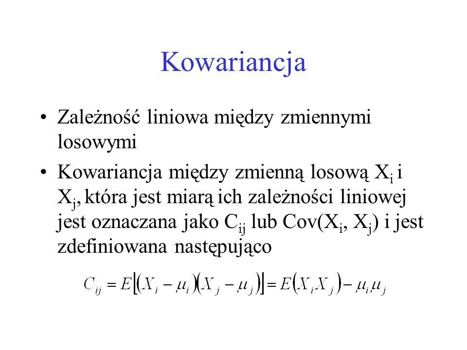 Kowariancja Zależność liniowa między zmiennymi losowymi Kowariancja między zmienną losową X i i X j, która jest miarą ich zależności liniowej jest ozn