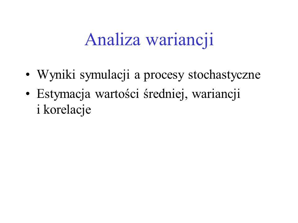Analiza wariancji Wyniki symulacji a procesy stochastyczne Estymacja wartości średniej, wariancji i korelacje