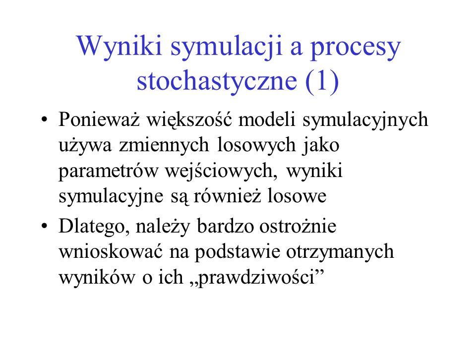 Wyniki symulacji a procesy stochastyczne (1) Ponieważ większość modeli symulacyjnych używa zmiennych losowych jako parametrów wejściowych, wyniki symu