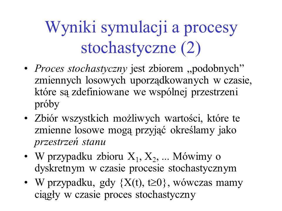 Wyniki symulacji a procesy stochastyczne (2) Proces stochastyczny jest zbiorem podobnych zmiennych losowych uporządkowanych w czasie, które są zdefini