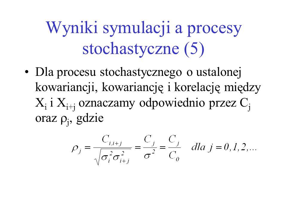 Wyniki symulacji a procesy stochastyczne (5) Dla procesu stochastycznego o ustalonej kowariancji, kowariancję i korelację między X i i X i+j oznaczamy