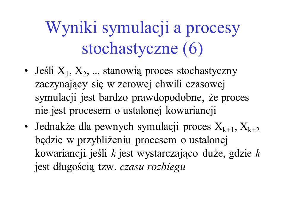 Wyniki symulacji a procesy stochastyczne (6) Jeśli X 1, X 2,... stanowią proces stochastyczny zaczynający się w zerowej chwili czasowej symulacji jest