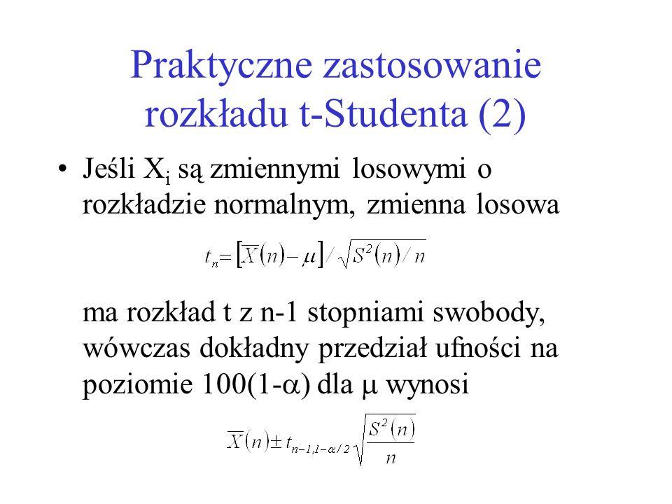 Praktyczne zastosowanie rozkładu t-Studenta (2) Jeśli X i są zmiennymi losowymi o rozkładzie normalnym, zmienna losowa ma rozkład t z n-1 stopniami sw