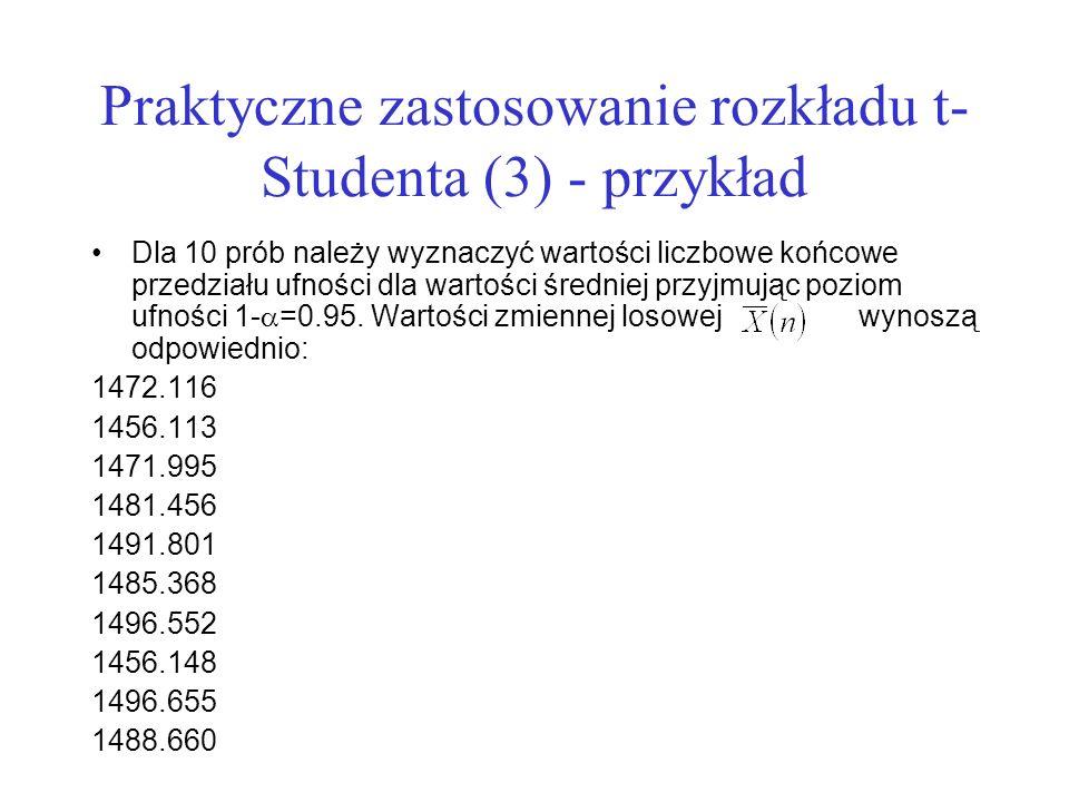 Praktyczne zastosowanie rozkładu t- Studenta (3) - przykład Dla 10 prób należy wyznaczyć wartości liczbowe końcowe przedziału ufności dla wartości śre