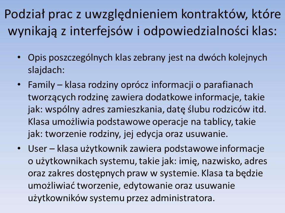 Podział prac z uwzględnieniem kontraktów, które wynikają z interfejsów i odpowiedzialności klas: Opis poszczególnych klas zebrany jest na dwóch kolejn
