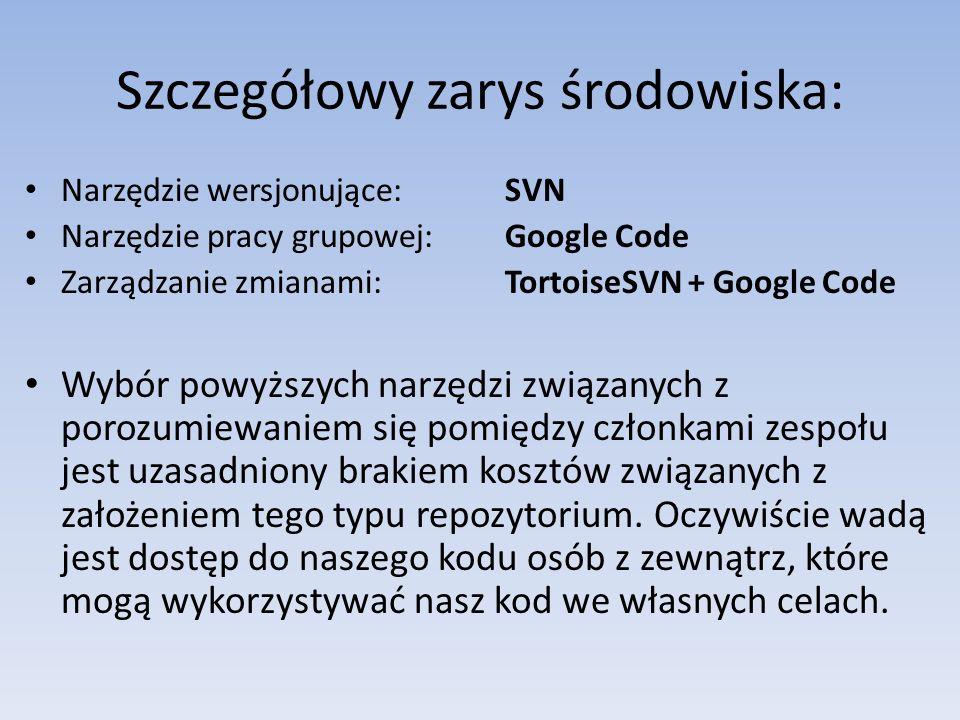 Szczegółowy zarys środowiska: Narzędzie wersjonujące: SVN Narzędzie pracy grupowej: Google Code Zarządzanie zmianami: TortoiseSVN + Google Code Wybór