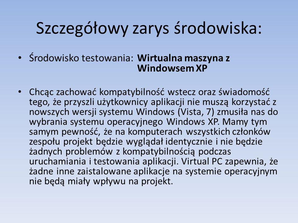 Szczegółowy zarys środowiska: Środowisko testowania: Wirtualna maszyna z Windowsem XP Chcąc zachować kompatybilność wstecz oraz świadomość tego, że pr