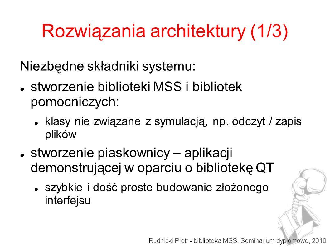 Rozwiązania architektury (1/3) Niezbędne składniki systemu: stworzenie biblioteki MSS i bibliotek pomocniczych: klasy nie związane z symulacją, np.