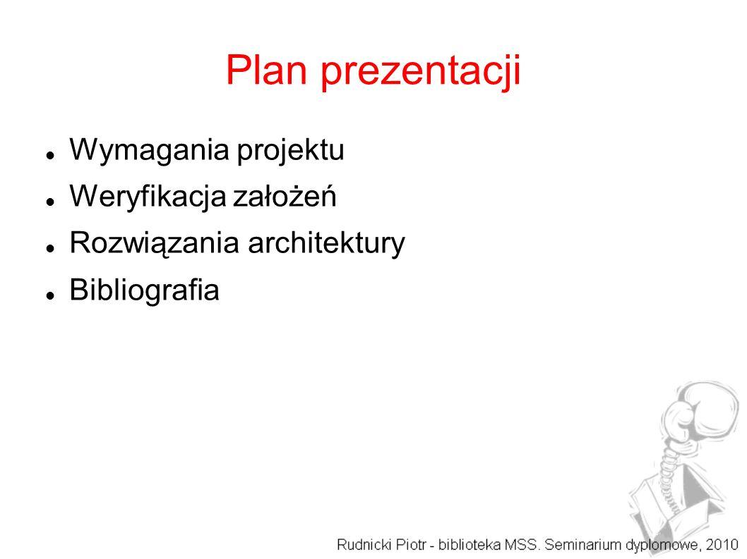 Plan prezentacji Wymagania projektu Weryfikacja założeń Rozwiązania architektury Bibliografia