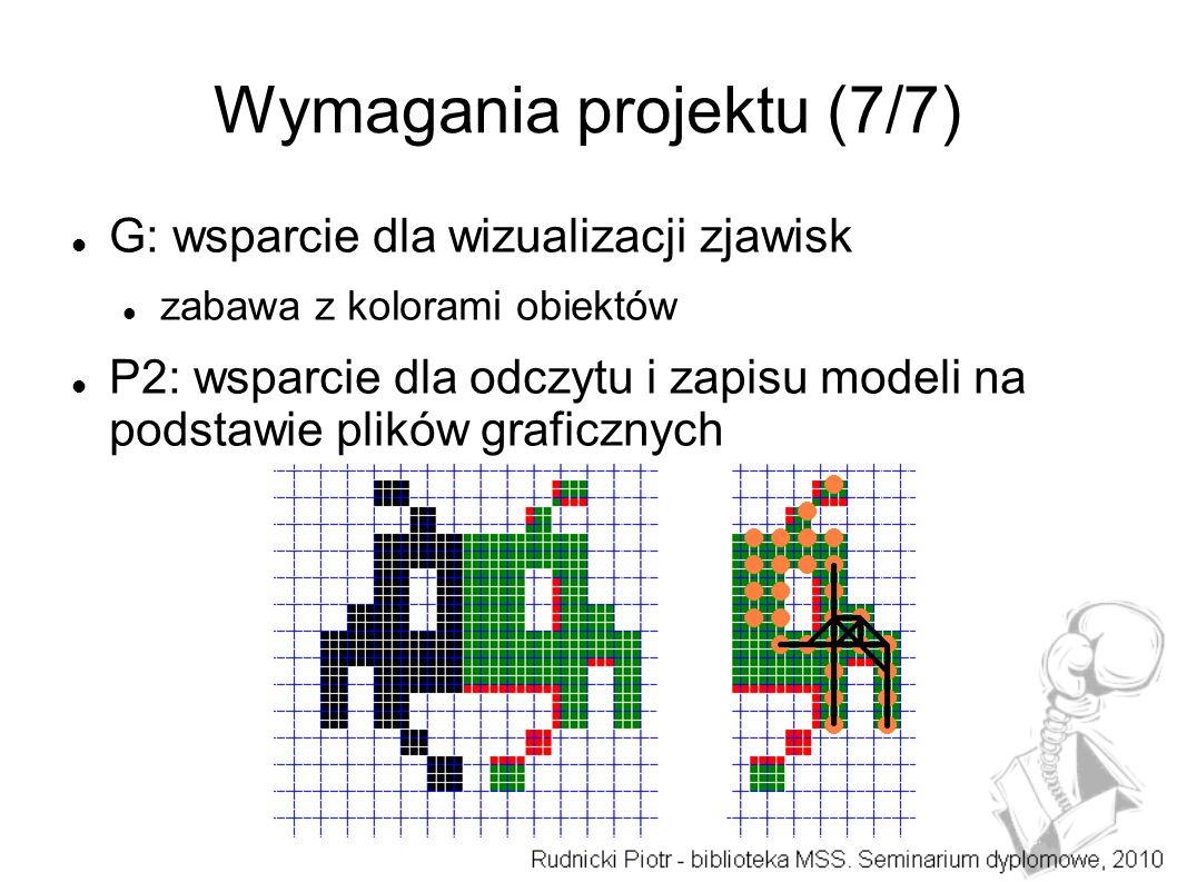 Wymagania projektu (7/7) G: wsparcie dla wizualizacji zjawisk zabawa z kolorami obiektów P2: wsparcie dla odczytu i zapisu modeli na podstawie plików graficznych