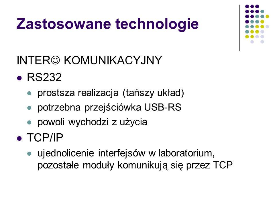Zastosowane technologie INTER KOMUNIKACYJNY RS232 prostsza realizacja (tańszy układ) potrzebna przejściówka USB-RS powoli wychodzi z użycia TCP/IP ujednolicenie interfejsów w laboratorium, pozostałe moduły komunikują się przez TCP