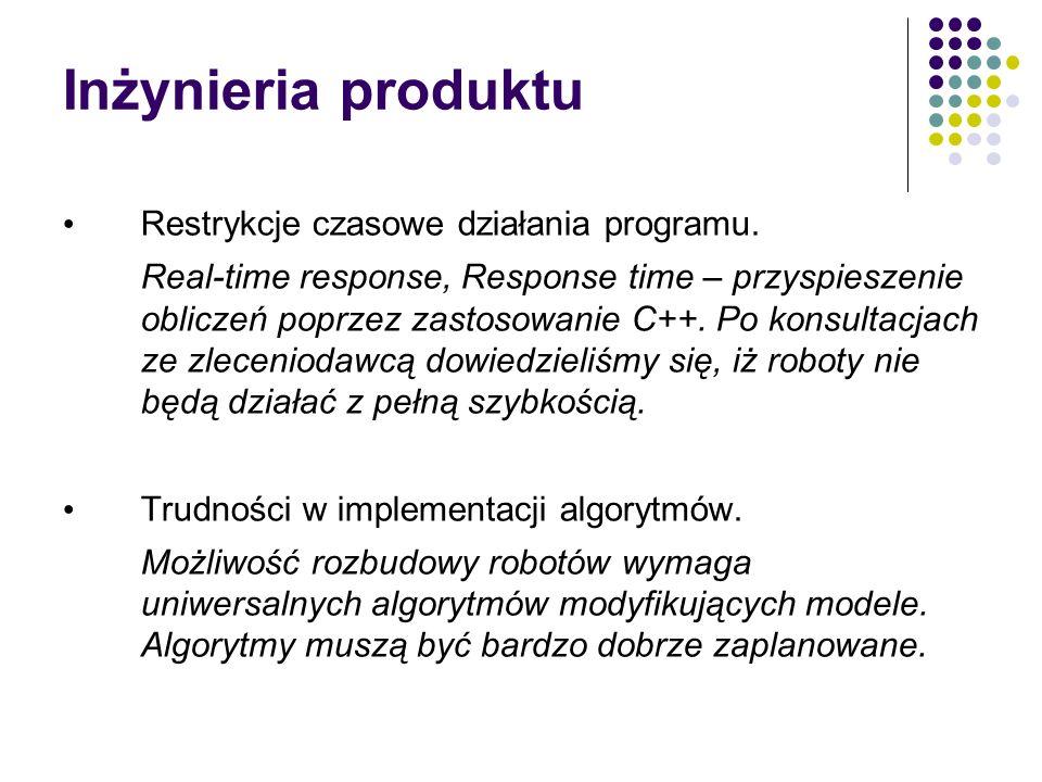 Inżynieria produktu Restrykcje czasowe działania programu. Real-time response, Response time – przyspieszenie obliczeń poprzez zastosowanie C++. Po ko