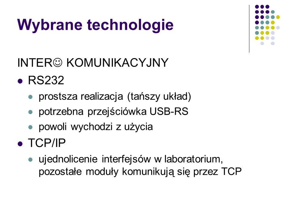 Wybrane technologie INTER KOMUNIKACYJNY RS232 prostsza realizacja (tańszy układ) potrzebna przejściówka USB-RS powoli wychodzi z użycia TCP/IP ujednolicenie interfejsów w laboratorium, pozostałe moduły komunikują się przez TCP
