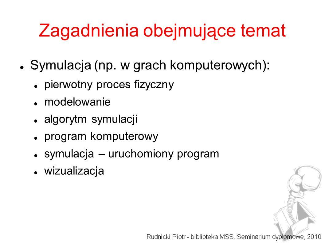Zagadnienia obejmujące temat Symulacja (np. w grach komputerowych): pierwotny proces fizyczny modelowanie algorytm symulacji program komputerowy symul