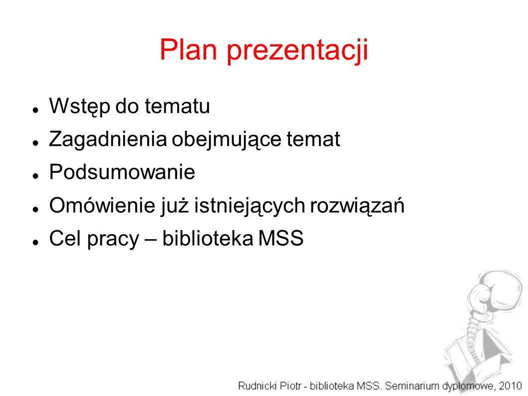 Plan prezentacji Wstęp do tematu Zagadnienia obejmujące temat Podsumowanie Omówienie już istniejących rozwiązań Cel pracy – biblioteka MSS