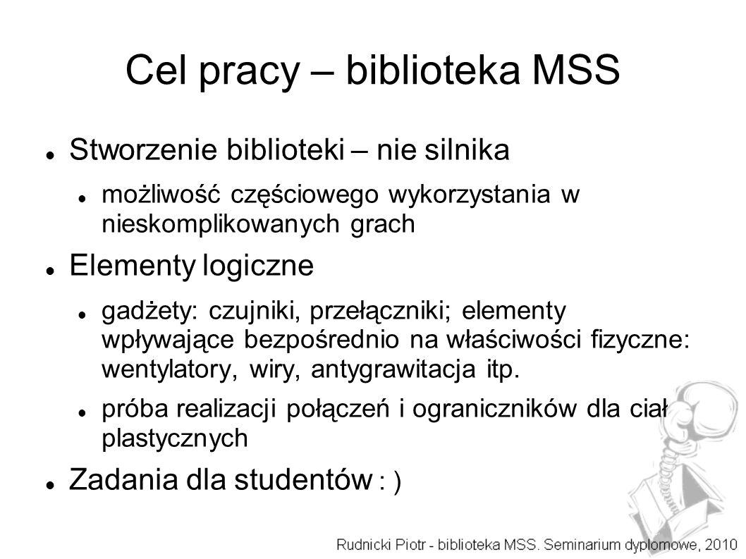 Cel pracy – biblioteka MSS Stworzenie biblioteki – nie silnika możliwość częściowego wykorzystania w nieskomplikowanych grach Elementy logiczne gadżet