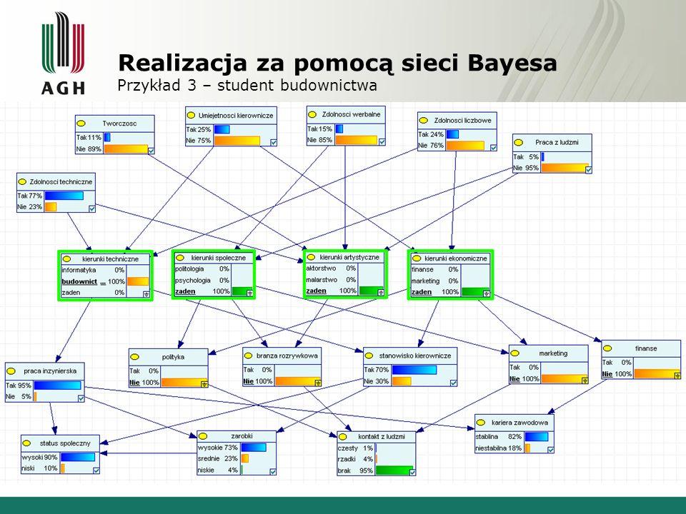 Realizacja za pomocą sieci Bayesa Opis narzędzia - GeNIe GeNIe jest to narzędzie pozwalające na graficzną budowę i analizę sieci Bayesa.
