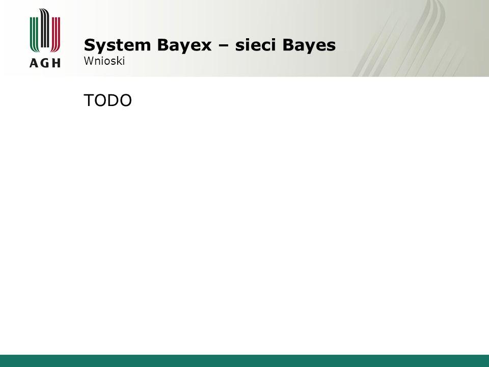 System Bayex – sieci Bayes Wnioski TODO