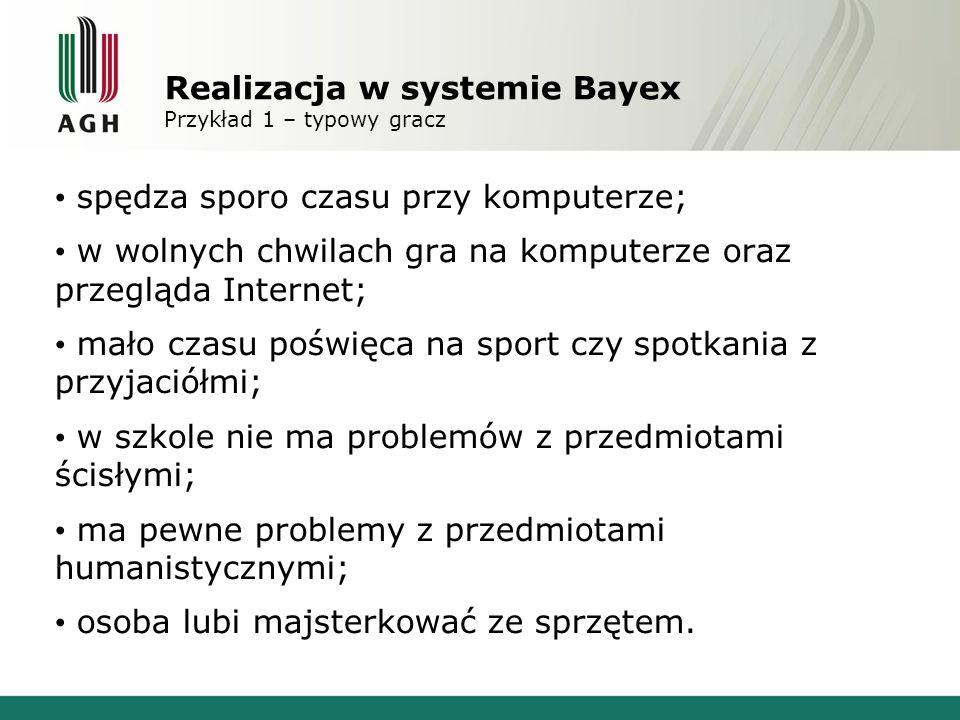 Realizacja w systemie Bayex Przykład 1 – typowy gracz Wynik: predyspozycje do kierunków technicznych czy ekonomicznych
