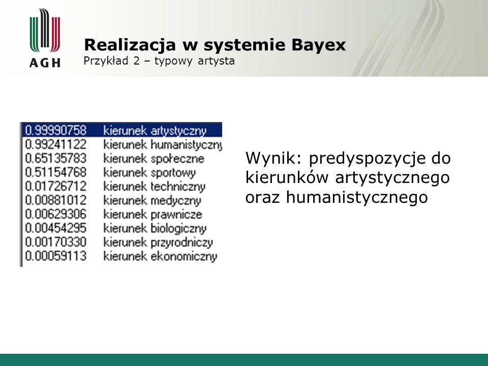 System Bayex Możliwe udoskonalenia Naprawa osiągalności hipotez; Dodanie możliwości eksportu pytań (gotowa ankieta) oraz importu odpowiedzi – tak aby była możliwość zrobienia ankiety, a następnie wczytania udzielonych odpowiedzi; Możliwość przypisania kilku pytań do tego samego symptomu, aby wykryć nierzetelnie wypełnioną ankietę; Akceptacja przecinka, przy wpisywaniu prawdopodobieństwa do systemu; Dodanie dymków (tooltipów) po najechaniu na ikonki typu H, M, S, …