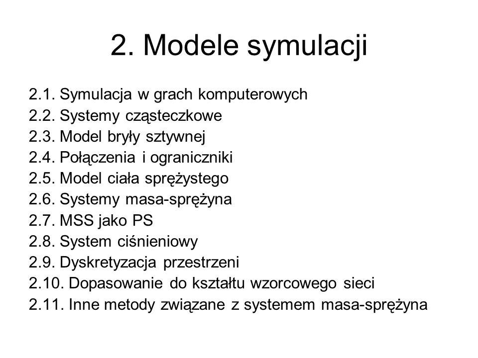 2. Modele symulacji 2.1. Symulacja w grach komputerowych 2.2. Systemy cząsteczkowe 2.3. Model bryły sztywnej 2.4. Połączenia i ograniczniki 2.5. Model