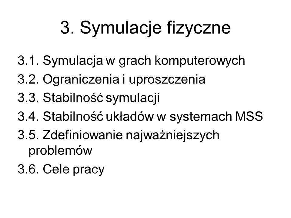 3. Symulacje fizyczne 3.1. Symulacja w grach komputerowych 3.2. Ograniczenia i uproszczenia 3.3. Stabilność symulacji 3.4. Stabilność układów w system