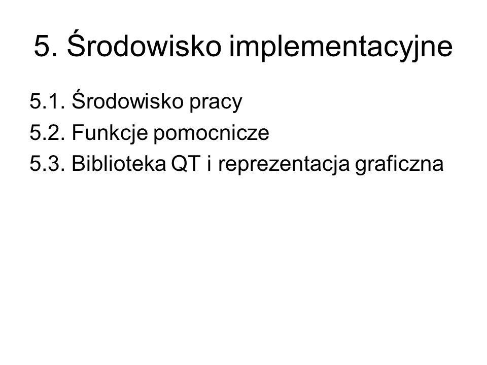 5. Środowisko implementacyjne 5.1. Środowisko pracy 5.2. Funkcje pomocnicze 5.3. Biblioteka QT i reprezentacja graficzna
