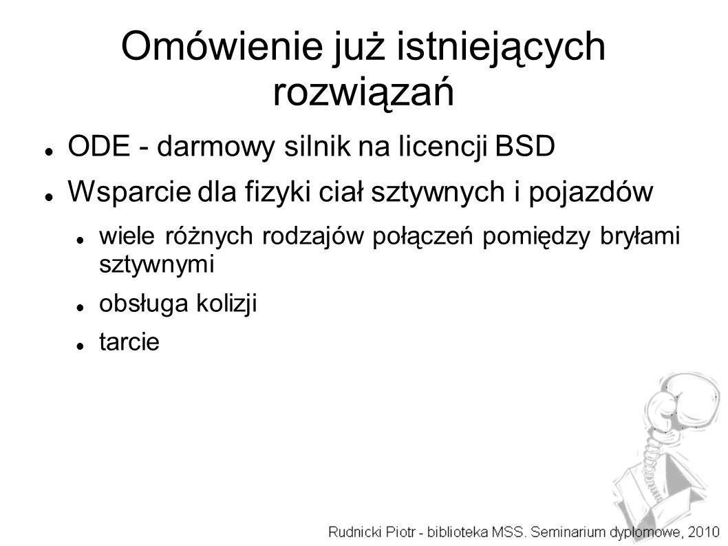 Omówienie już istniejących rozwiązań ODE - darmowy silnik na licencji BSD Wsparcie dla fizyki ciał sztywnych i pojazdów wiele różnych rodzajów połączeń pomiędzy bryłami sztywnymi obsługa kolizji tarcie
