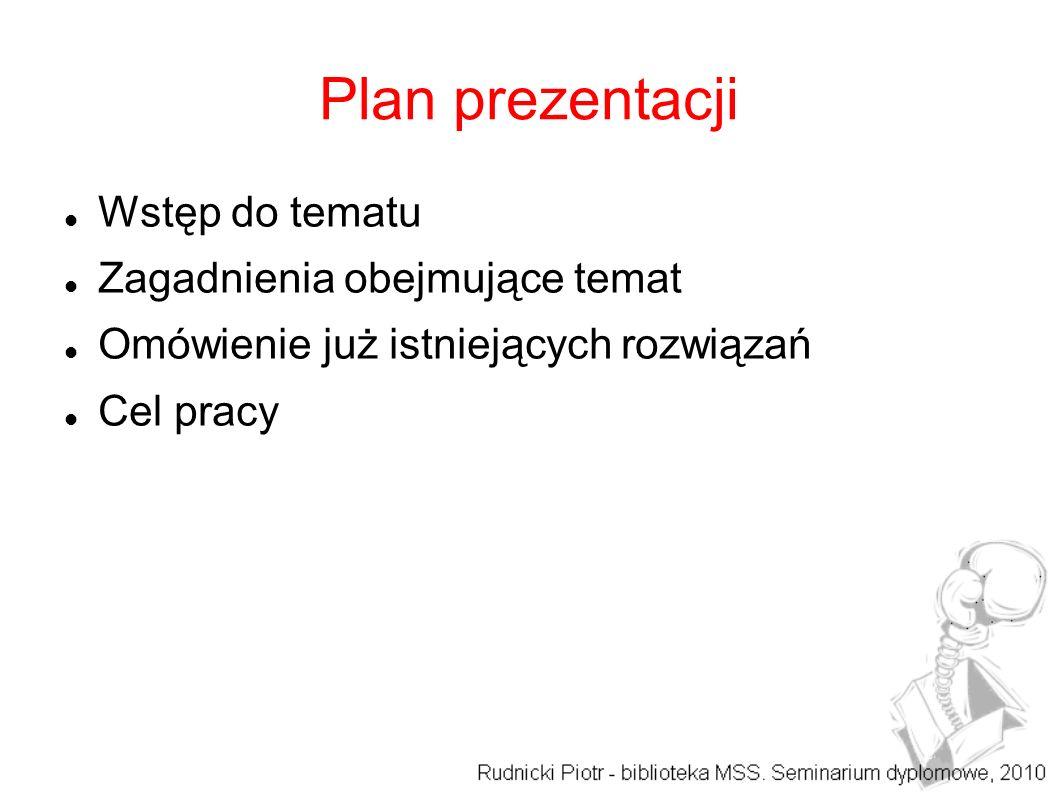 Plan prezentacji Wstęp do tematu Zagadnienia obejmujące temat Omówienie już istniejących rozwiązań Cel pracy