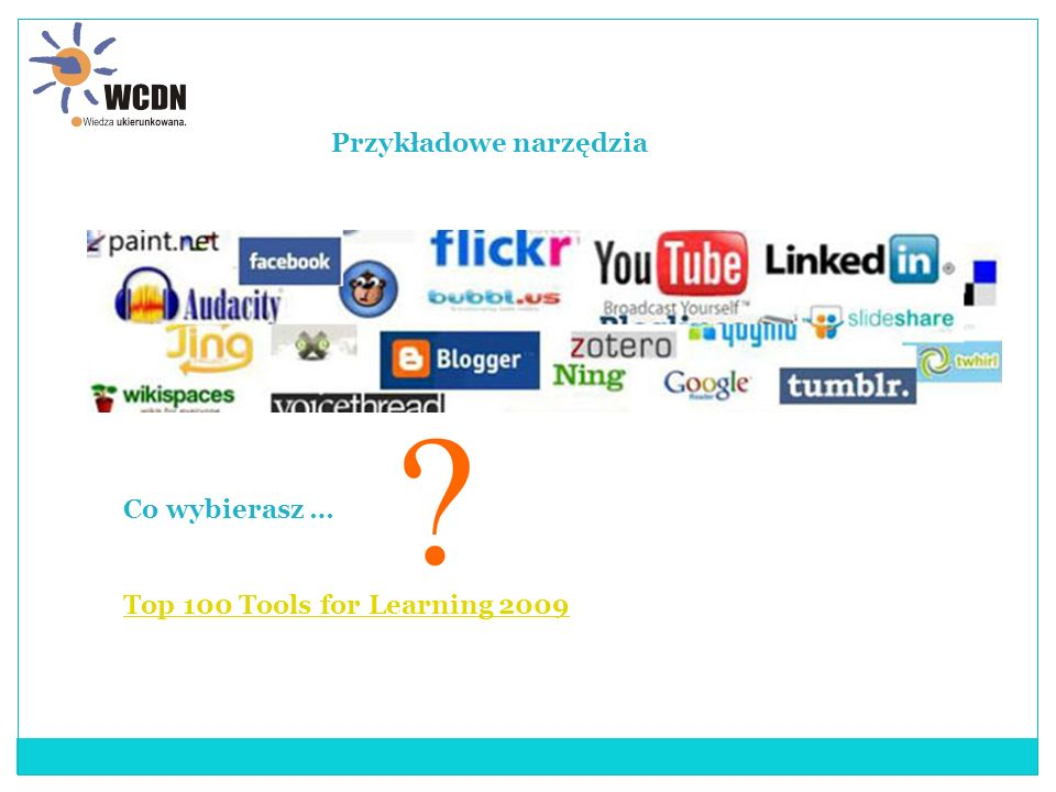 Przykładowe narzędzia Co wybierasz … Top 100 Tools for Learning 2009