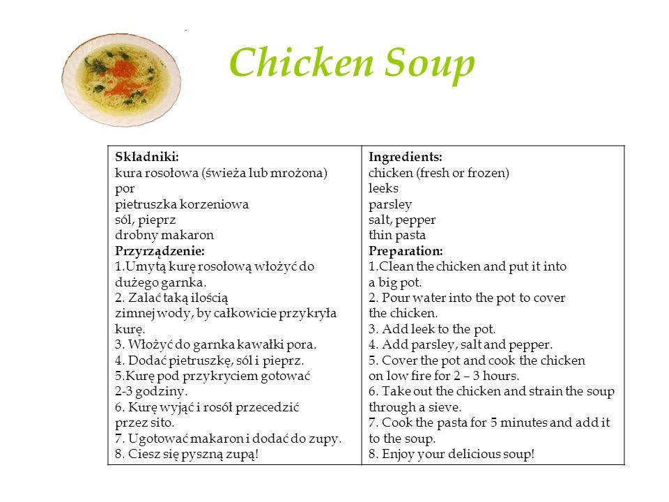 Chicken Soup Składniki: kura rosołowa (świeża lub mrożona) por pietruszka korzeniowa sól, pieprz drobny makaron Przyrządzenie: 1.Umytą kurę rosołową włożyć do dużego garnka.