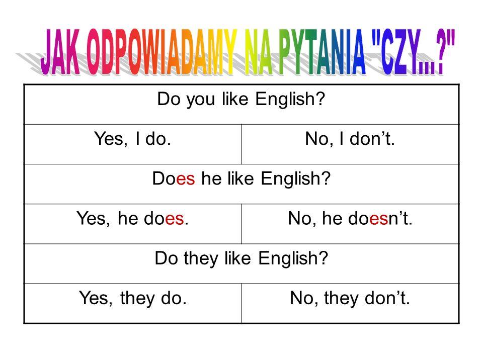 Do you like English? Yes, I do.No, I dont. Does he like English? Yes, he does.No, he doesnt. Do they like English? Yes, they do.No, they dont.