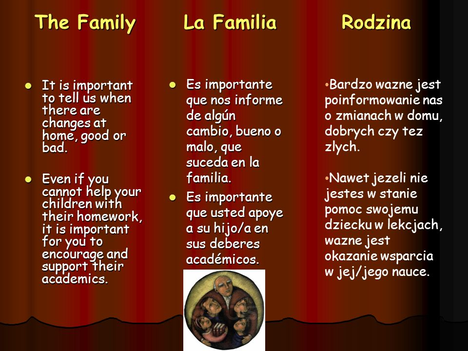 The Family La Familia Rodzina It is important to tell us when there are changes at home, good or bad. It is important to tell us when there are change