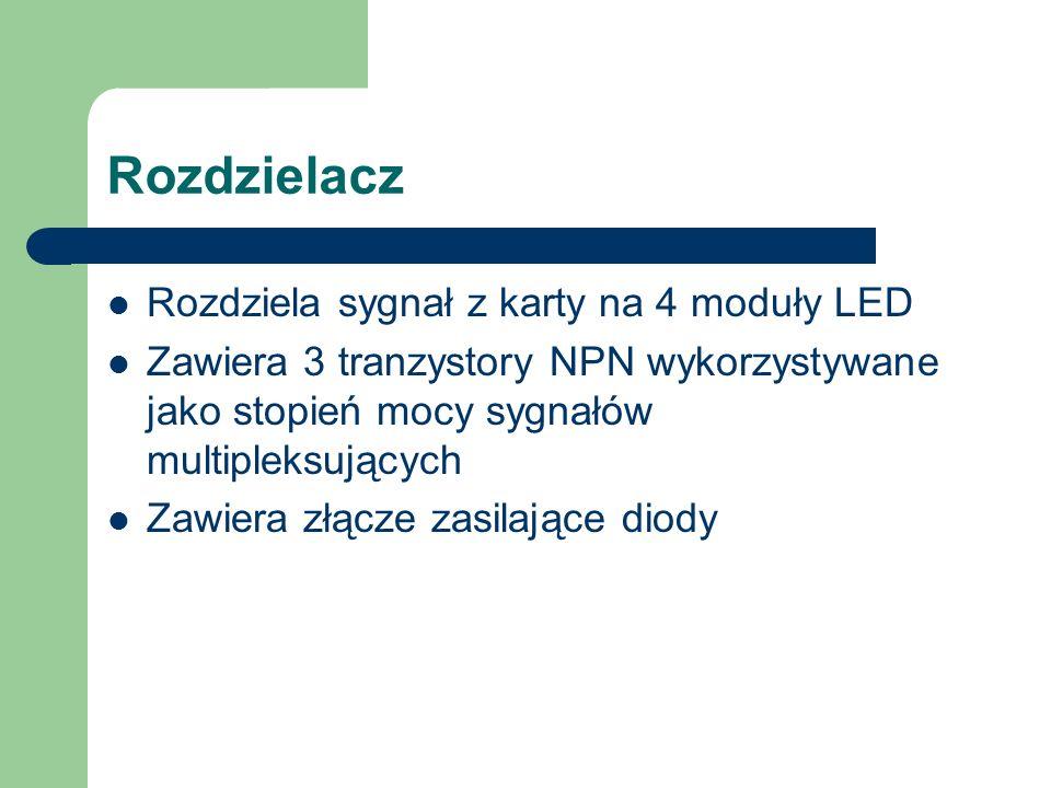 Rozdzielacz Rozdziela sygnał z karty na 4 moduły LED Zawiera 3 tranzystory NPN wykorzystywane jako stopień mocy sygnałów multipleksujących Zawiera złącze zasilające diody