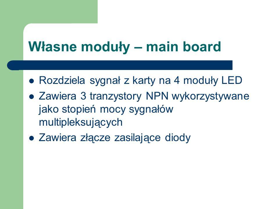 Własne moduły – main board Rozdziela sygnał z karty na 4 moduły LED Zawiera 3 tranzystory NPN wykorzystywane jako stopień mocy sygnałów multipleksując
