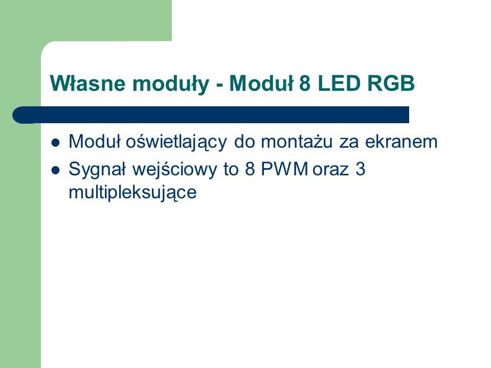 Własne moduły - Moduł 8 LED RGB Moduł oświetlający do montażu za ekranem Sygnał wejściowy to 8 PWM oraz 3 multipleksujące