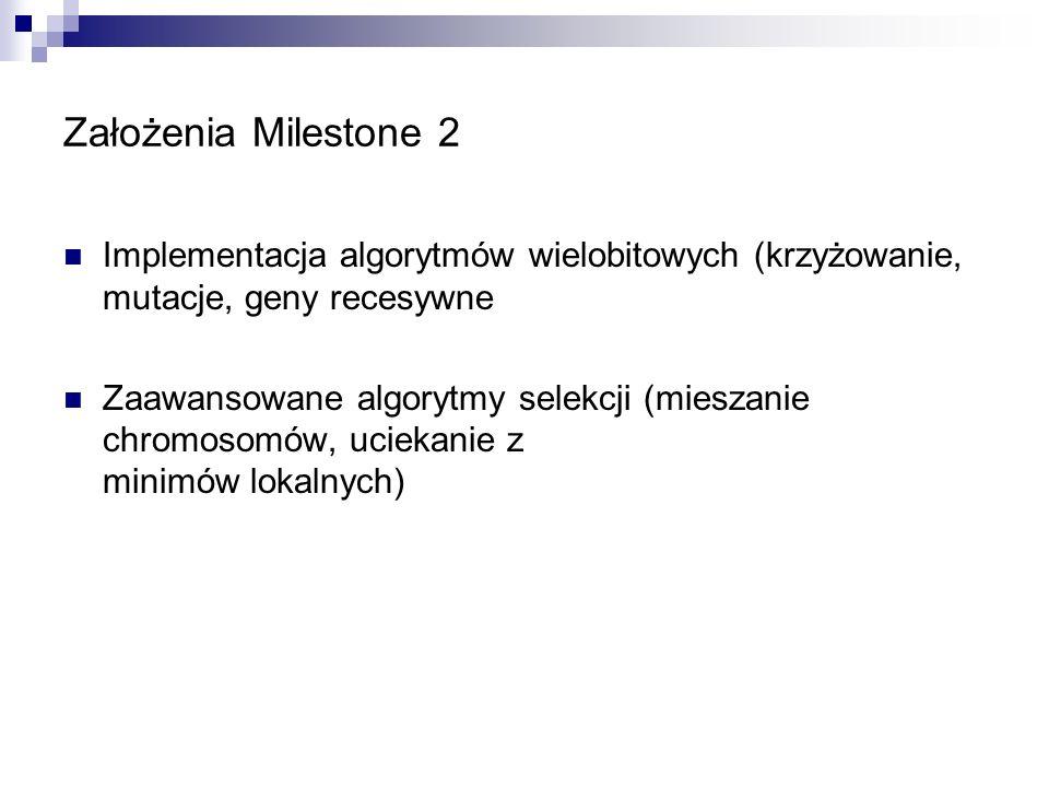 Założenia Milestone 2 Implementacja algorytmów wielobitowych (krzyżowanie, mutacje, geny recesywne Zaawansowane algorytmy selekcji (mieszanie chromoso