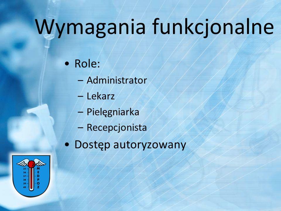 Wymagania funkcjonalne Role: –Administrator –Lekarz –Pielęgniarka –Recepcjonista Dostęp autoryzowany