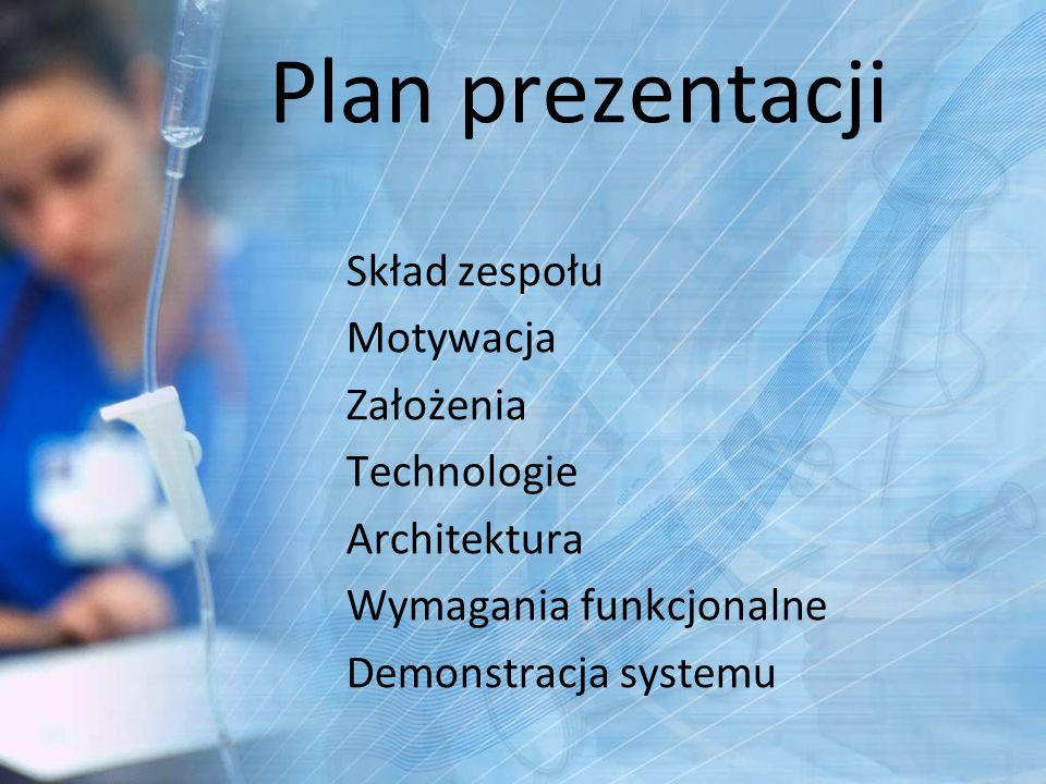 Plan prezentacji Skład zespołu Motywacja Założenia Technologie Architektura Wymagania funkcjonalne Demonstracja systemu