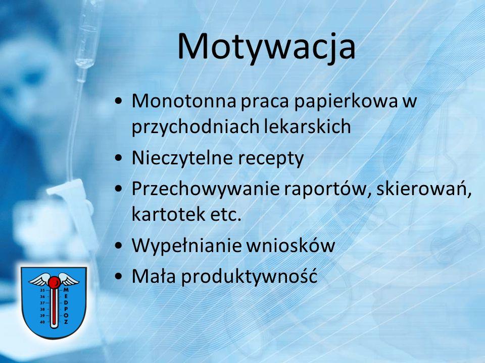 Motywacja Monotonna praca papierkowa w przychodniach lekarskich Nieczytelne recepty Przechowywanie raportów, skierowań, kartotek etc. Wypełnianie wnio