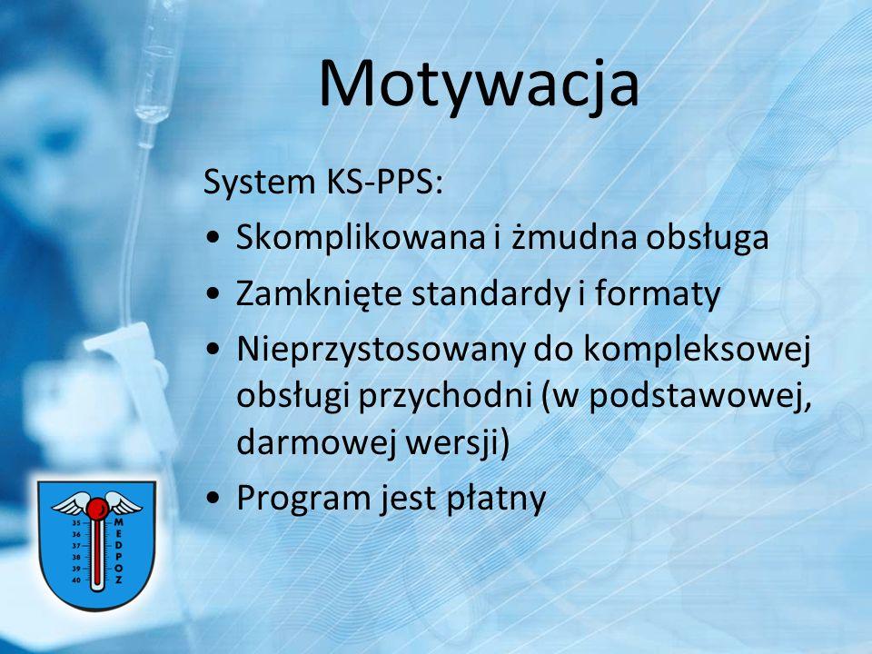 Motywacja System KS-PPS: Skomplikowana i żmudna obsługa Zamknięte standardy i formaty Nieprzystosowany do kompleksowej obsługi przychodni (w podstawow