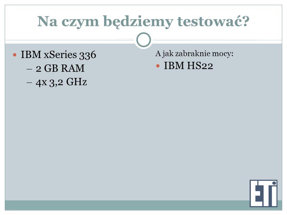 Na czym będziemy testować IBM xSeries 336 – 2 GB RAM – 4x 3,2 GHz A jak zabraknie mocy: IBM HS22