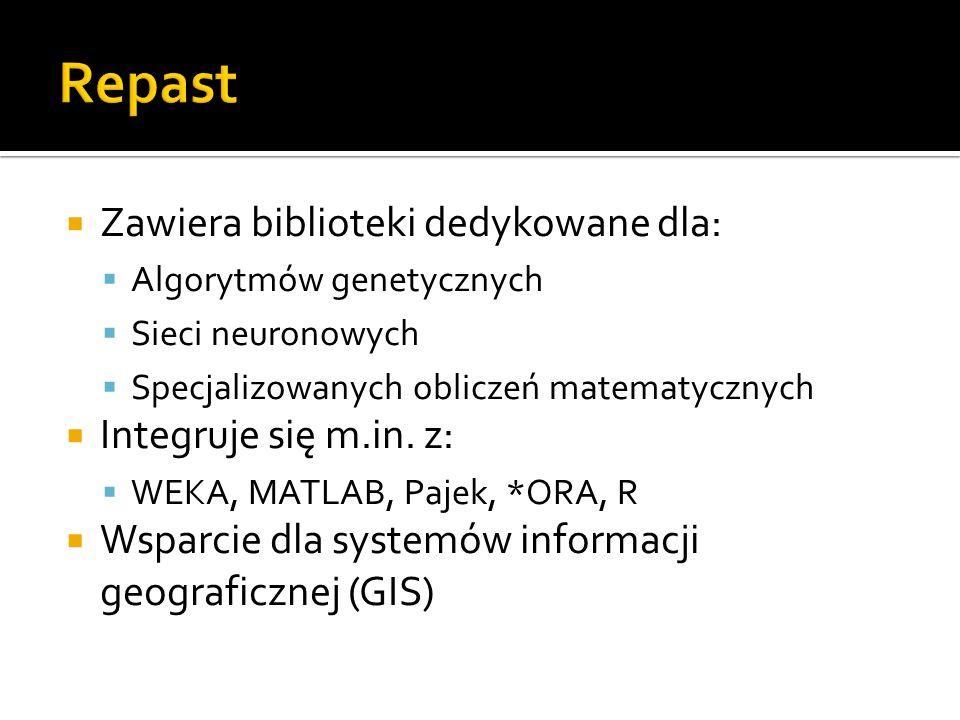 Zawiera biblioteki dedykowane dla: Algorytmów genetycznych Sieci neuronowych Specjalizowanych obliczeń matematycznych Integruje się m.in. z: WEKA, MAT
