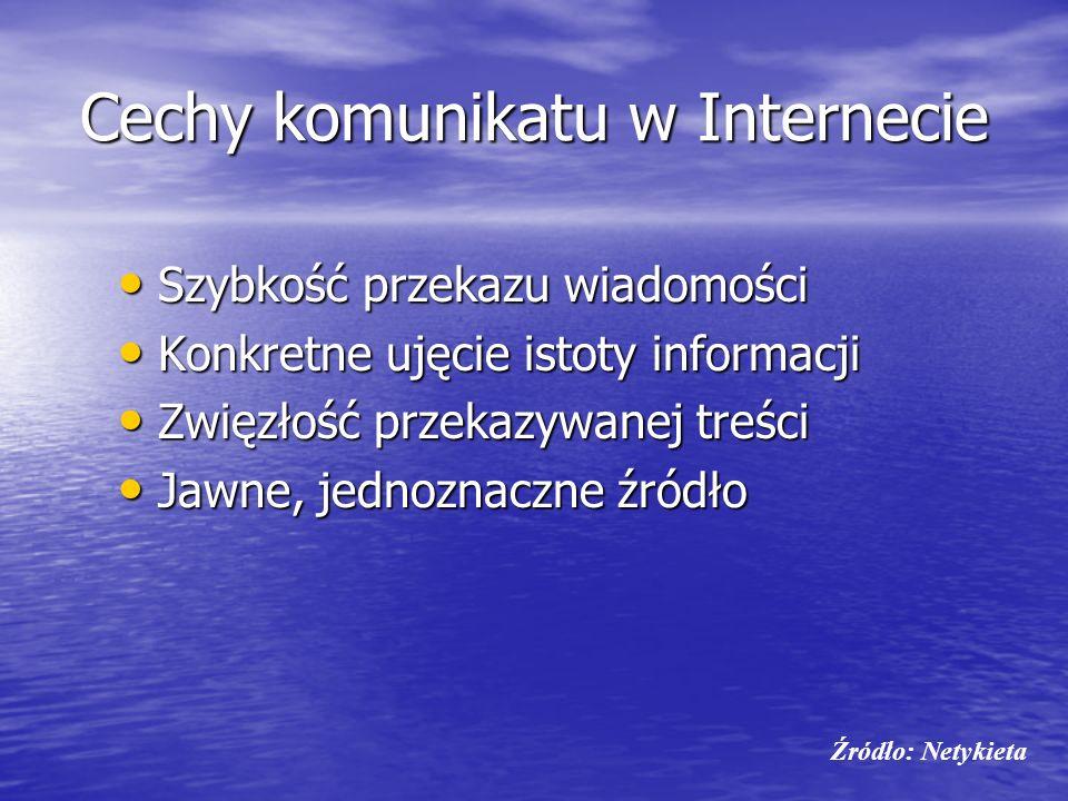 Cechy komunikatu w Internecie Szybkość przekazu wiadomości Szybkość przekazu wiadomości Konkretne ujęcie istoty informacji Konkretne ujęcie istoty inf
