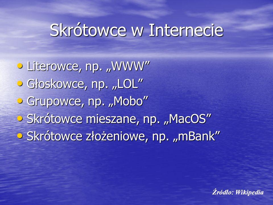 Skrótowce w Internecie Literowce, np. WWW Literowce, np. WWW Głoskowce, np. LOL Głoskowce, np. LOL Grupowce, np. Mobo Grupowce, np. Mobo Skrótowce mie