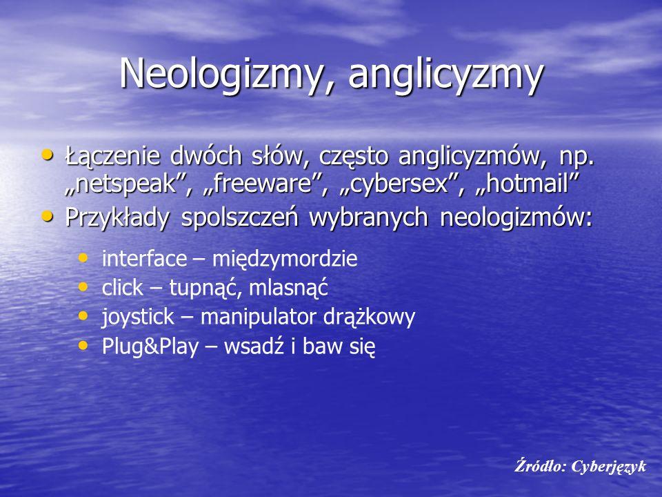 Neologizmy, anglicyzmy Łączenie dwóch słów, często anglicyzmów, np. netspeak, freeware, cybersex, hotmail Łączenie dwóch słów, często anglicyzmów, np.