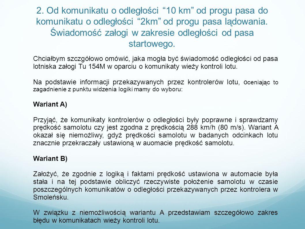 2. Od komunikatu o odległości 10 km od progu pasa do komunikatu o odległości 2km od progu pasa lądowania. Świadomość załogi w zakresie odległości od p