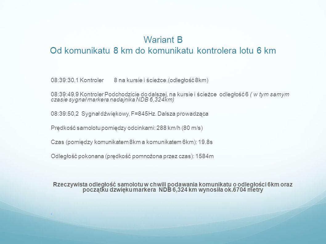 Wariant B Od komunikatu 8 km do komunikatu kontrolera lotu 6 km 08:39:30,1 Kontroler 8 na kursie i ścieżce.(odległość 8km) 08:39:49,9 Kontroler Podcho
