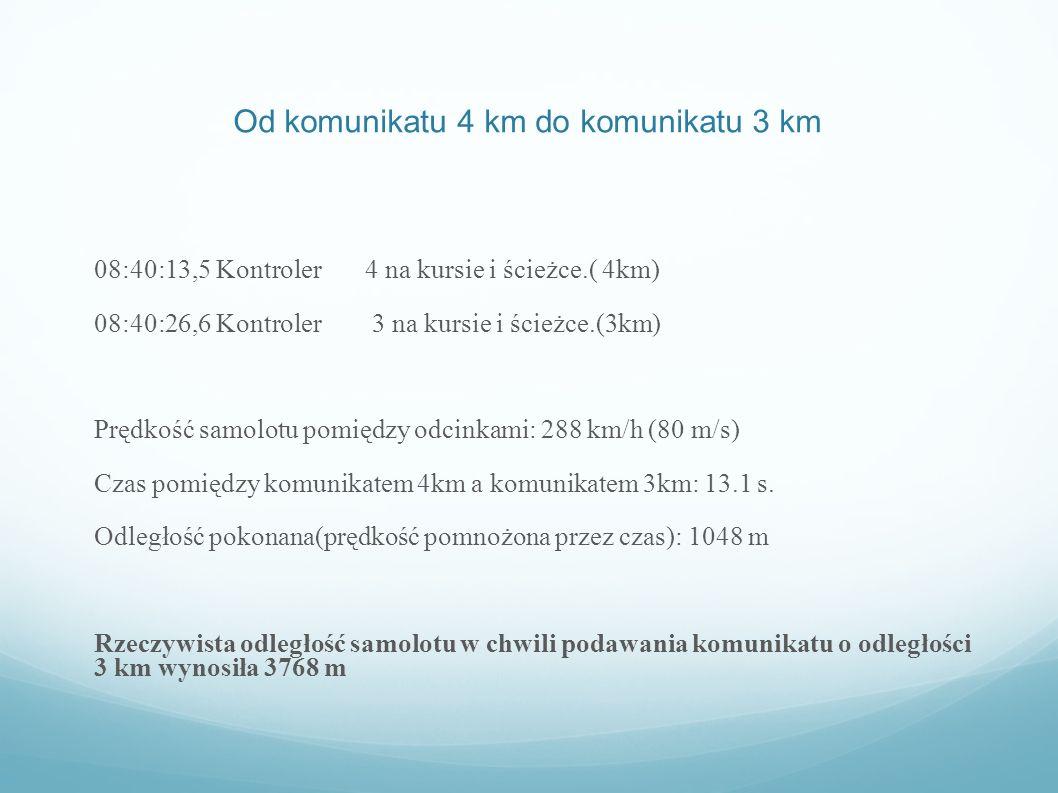 Od komunikatu 4 km do komunikatu 3 km 08:40:13,5 Kontroler 4 na kursie i ścieżce.( 4km) 08:40:26,6 Kontroler 3 na kursie i ścieżce.(3km) Prędkość samo